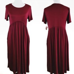 Impeccable Pig Maroon Empire Midi Dress